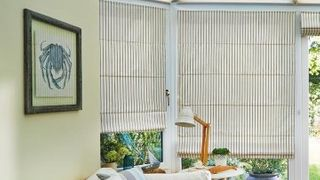 Roman Blind_Downtown Blue Sides_with_Elba Cream Roof Pleated Blind_Conservatory