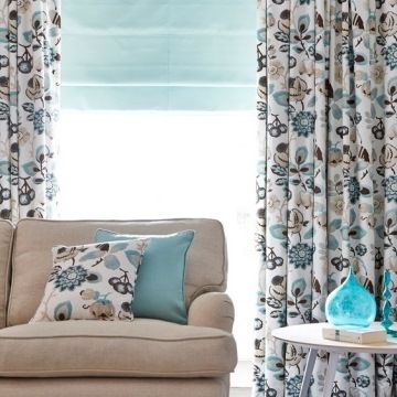 Roman Blind_Harlow Turquoise_with_Bohemia Willow_Curtains_Living Room