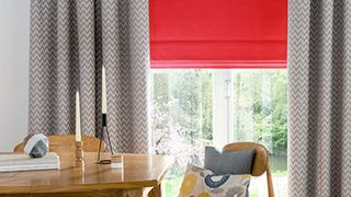 Tetbury Coral Roman blind and Horizon Denim Curtain