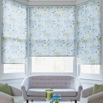 Betsy Blue Roller Blinds in living room