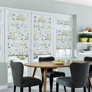 Betsy Mustard Roller Blind in dining room