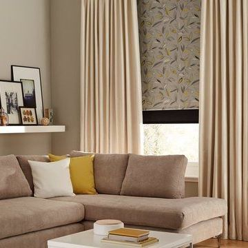 Curtains_Daze Ivory and Joya Yellow Roller Blind_Living Room