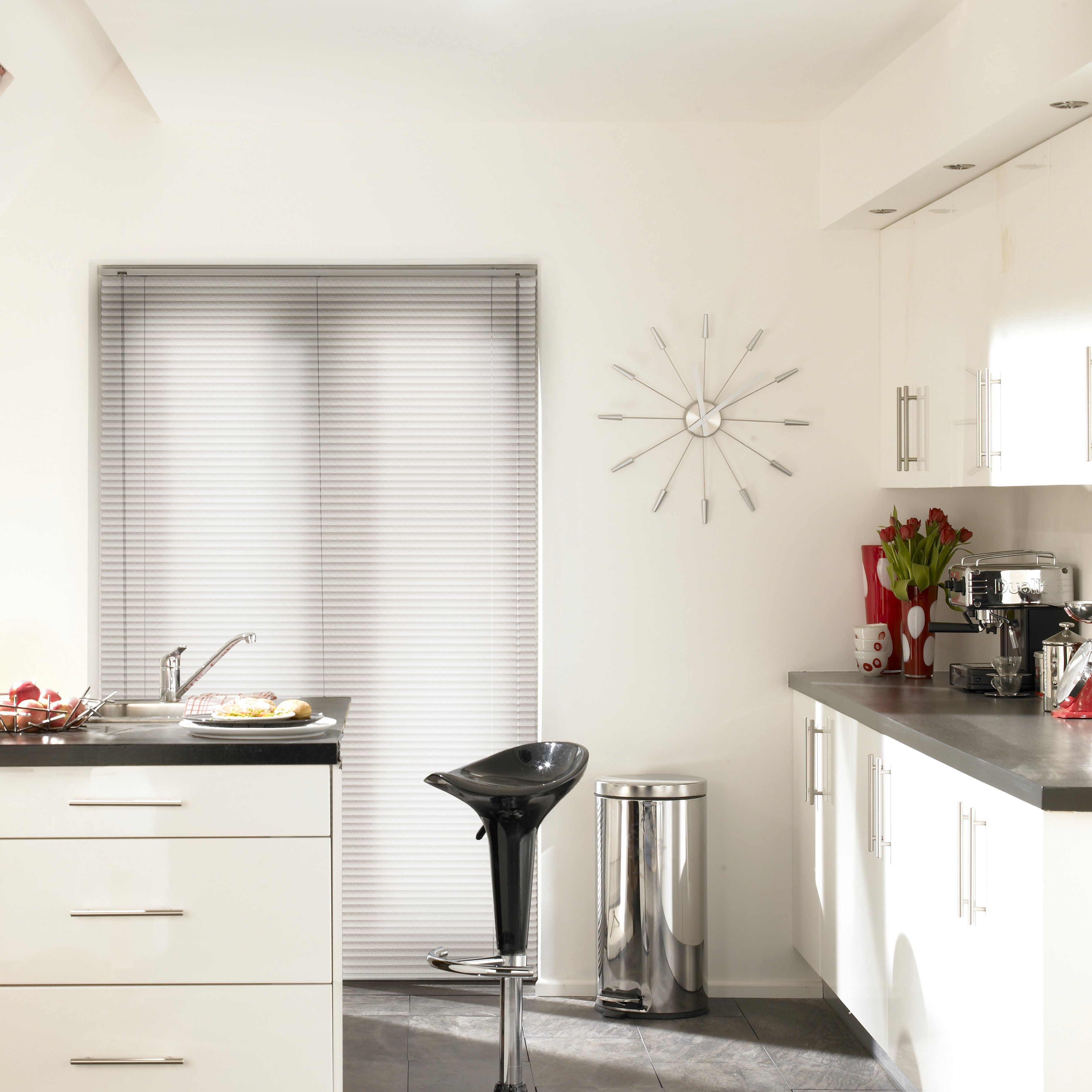 White Aluwood Alpine Venetian blinds in a modern kitchen