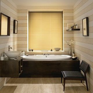 Light Aluwood American Elm Venetian blinds in a cosy bathroom
