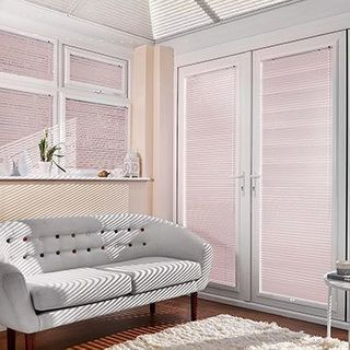 Pink Portfolio Pink Blossom Venetian blinds hanging in patio doors