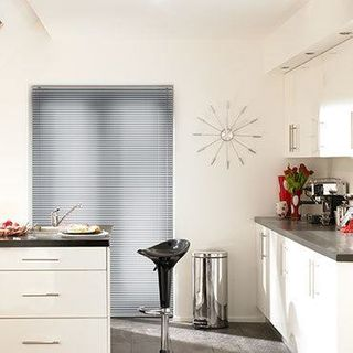 Sheer Luxury Filtra Silver Venetian blinds in a modern kitchen