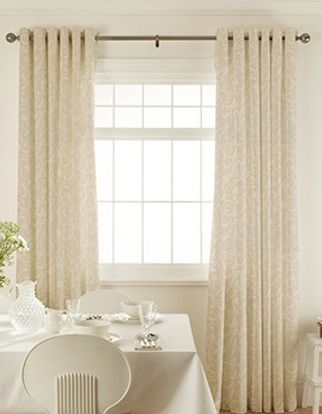 Alice Ivory Curtains in dining room with white furniture
