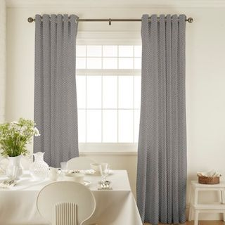 Harlow Charcoal Curtains in dining room with white furniture