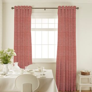 Harlow Fuschia Curtains in dining room with white furniture