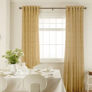 Islita Pecan Curtains in dining room with white furniture