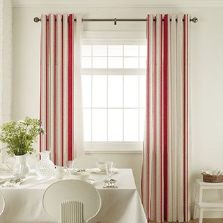 Prior Park Red Curtains in dining room with white furniture