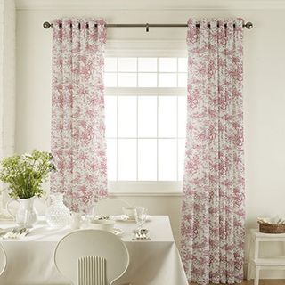 Toile Cherry Curtains in dining room with white furniture