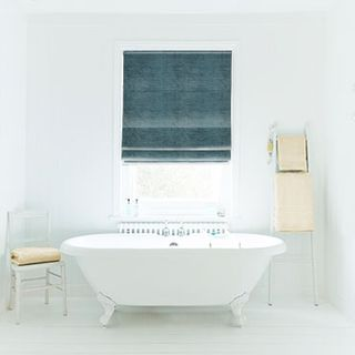 Roman Blind_Lyon Teal_Roomset