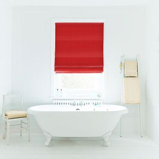 Roman Blind_Preston Red_Roomset