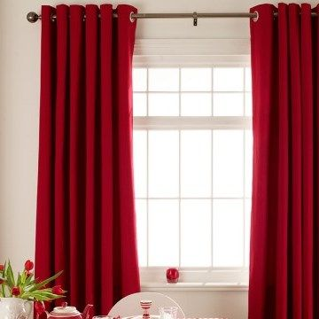 Tetbury Red eyelet curtains in an off-white dining room setting