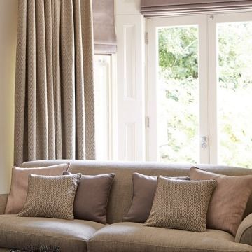 Furnished Living Room with Abacus Liquorice curtains