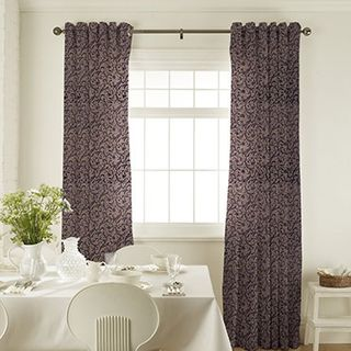 Alice Jet Curtains in dining room with white furniture