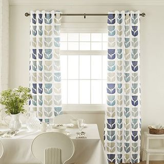 Rayna Aqua Curtains in dining room with white furniture