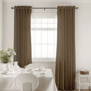 Roche Taupe Curtains in dining room with white furniture