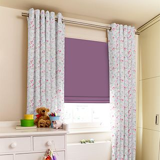 Birdsong Curtains paired iwth purple roman blinds in children's bedroom