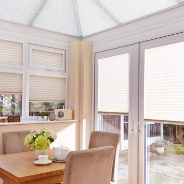 Pleated side blind Montoya Umber with Crush Ice Pleated roof blind Conservatory