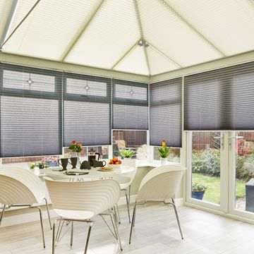 Pleated side blind_Crush Charcoal_with_Kari Cream_Pleated roof blind_Conservatory