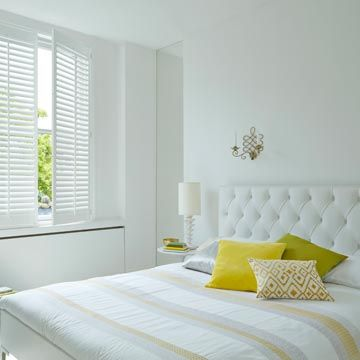 Full Height White Windsor Shutters