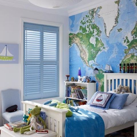 Full Height Light Blue Custom Colour Shutters