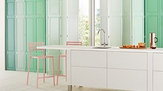 shutters in kitchen from our custom colour range