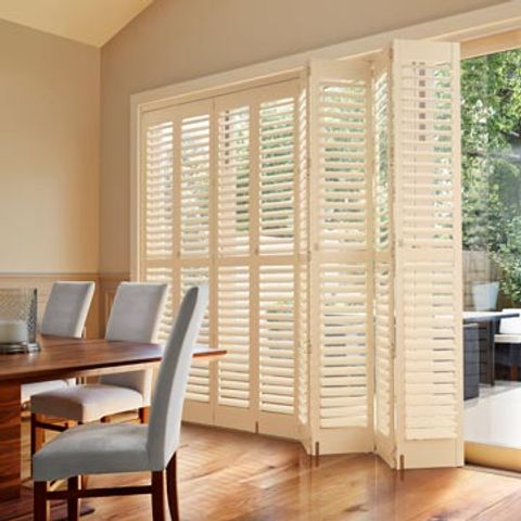 Tracked Shutters For Large Windows And Doors Tracked Plantation