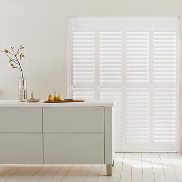 Full Height Warwick Pure White Shutters in Kitchen