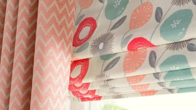 Freyja Coral Roman blind with Horizon Salmon curtains dining room.jpg