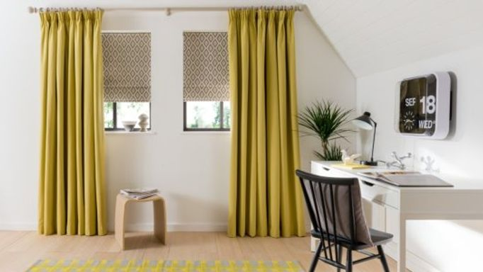 Tetbury-Mustard-curtains-Laverne Graphite-Roman-blind-home office.jpg