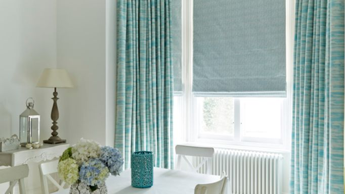 Riviera-Turquoise-curtains-Daze-Peacock-Roman-blind-dining room