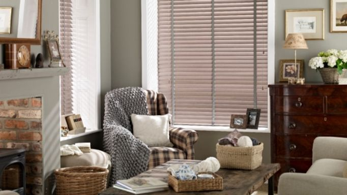Wooden venetian blinds living room