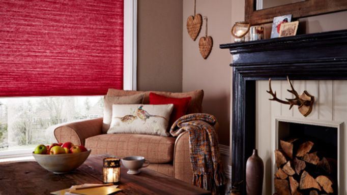 Red Pleated blind living room