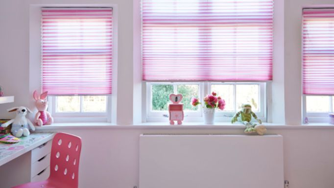 Pink pleated blind childrens bedroom