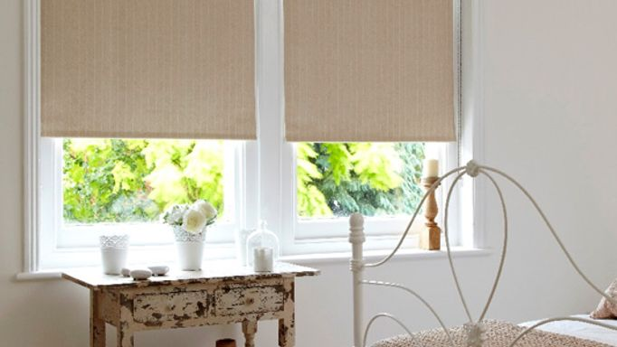 Tribal Sand Roller blinds in the bedroom