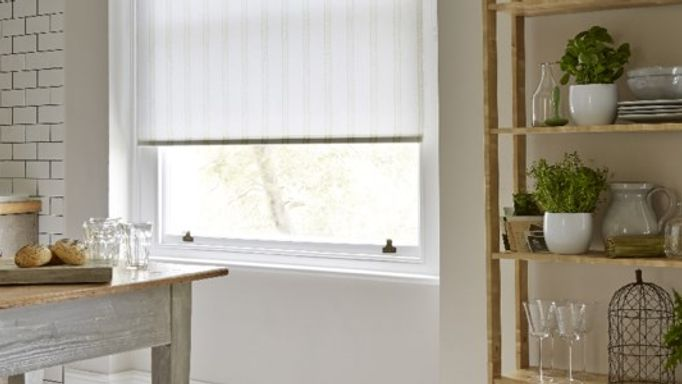 Candra Kiwi Crush Striped White Roller blind in the kitchen