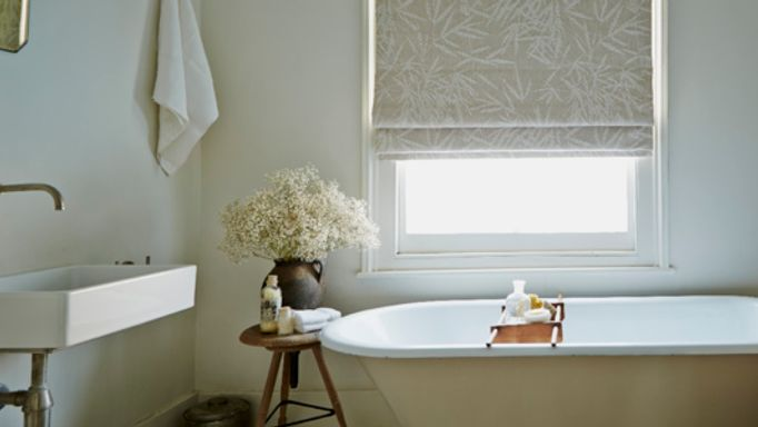 Grey Bamboo Floral linen Roman Blind in a Bathroom - Bamboo Floral Roman Blind
