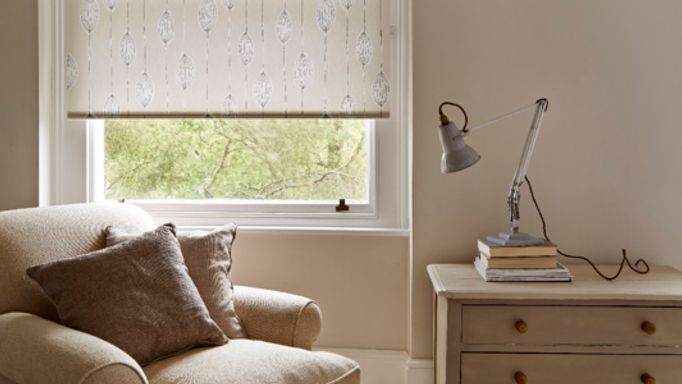 Cream Floral Roller Blinds featured in living room window - Silas Natural Roller blind