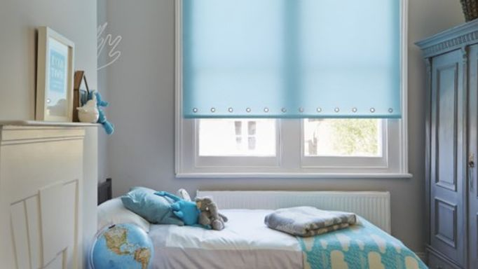 Ravenna Aqua Blue Roller Blind in Childrens Bedroom