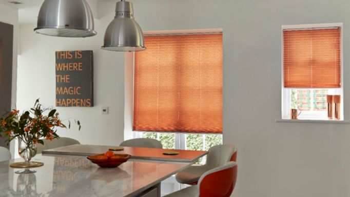 Moreno Rust Coloured Orange Pleated blind in the kitchen diner