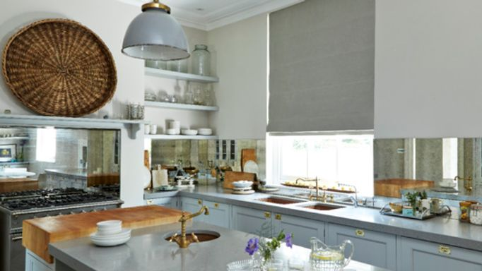 Opulence Dove Grey Roller blind in the kitchen