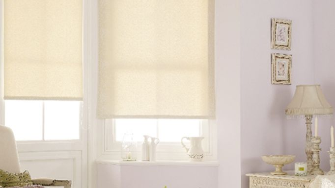 Cream Roller blind bay window