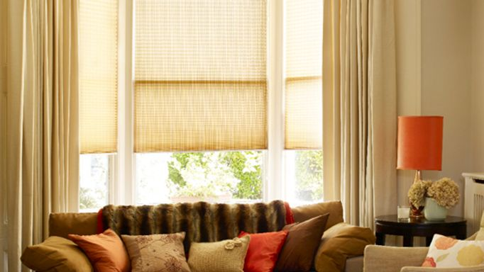Layered curtains and Pleated blinds