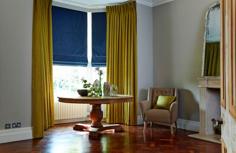 House Beautiful Global Textures Roman blind and curtains