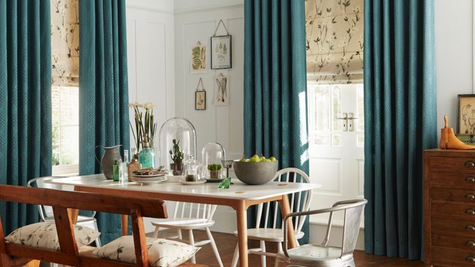 Jewel Edit Jade curtains and Roman blind