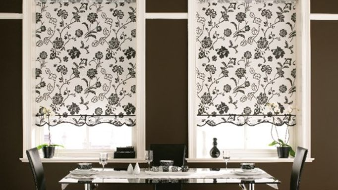 Miranda Monochrome Roller Blind in the Dining Room