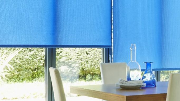 Blue Roller blind in the dining room